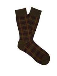 Pantherella Greenwich Tartan Wool Blend Socks Green Multi