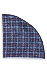 Alexander Olch Men's 'Francisco' Check Wool Pocket Round Blue Multi