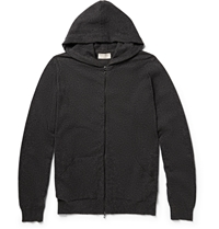 John Smedley Hooded Cashmere Zipped Cardigan Gray