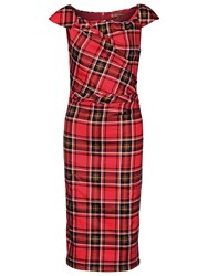 Jolie Moi Tartan Print Ruched Dress Red Green