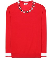 Fendi Embellished Cashmere And Silk Sweater Red