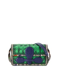 Bottega Veneta Snakeskin And Leather Geometric Stitched Satchel Bag Green