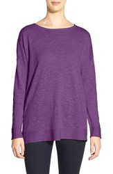 Women's Eileen Fisher Organic Linen And Organic Cotton Ballet Neck Boxy Top African Violet