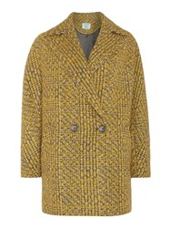 Dickins And Jones Double Breasted Textured Tweed Coat Multi Coloured
