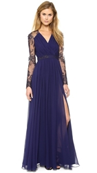 Badgley Mischka Collection Lace Sleeve V Neck Gown Navy