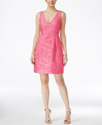 Betsey Johnson Sleeveless Tweed Fit And Flare Dress Pink Ivory