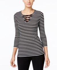 Inc International Concepts Striped Lace Up Top Only At Macy's Deep Black White