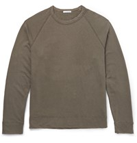 James Perse Loopback Pima Cotton Jersey Sweatshirt Green