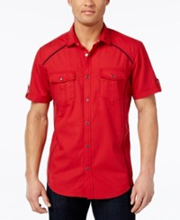 Inc International Concepts Men's Empire Ripstop Short Sleeve Shirt Only At Macy's Banner Red
