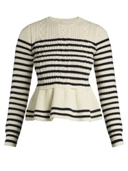 Red Valentino Striped Wool Peplum Sweater Blue White