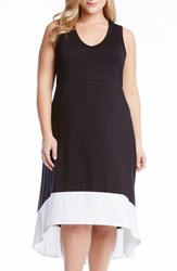 Plus Size Women's Karen Kane Colorblock High Low Sleeveless Jersey Dress Black Cream
