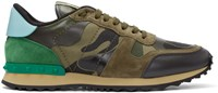 Valentino Green Canvas Camo Sneakers