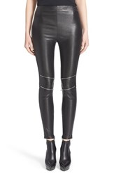 Women's Saint Laurent Zip Detail Lambskin Leather Leggings