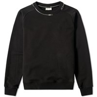 Saint Laurent Zip Collar Crew Sweat Black
