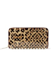 Christian Louboutin Panettone Spiked Leopard Print Patent Leather Continental Wallet