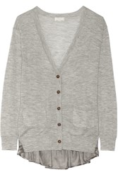Clu Lace And Satin Trimmed Cashmere Cardigan Gray