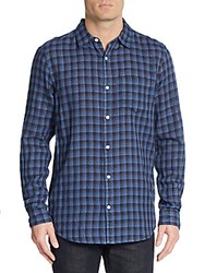 Saks Fifth Avenue Slim Fit Double Face Checkered Sportshirt Black Navy