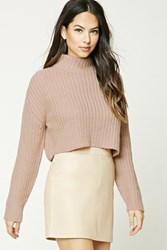 Forever 21 Cropped Turtleneck Sweater Mauve