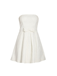 Morgan Bandeau Party Dress With Bow On Waist Off White