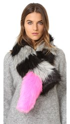 Charlotte Simone Popsicle Faux Fur Scarf Black Charcoal Grey Pink