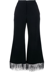 Jonathan Simkhai Fringed Flared Trousers Blue