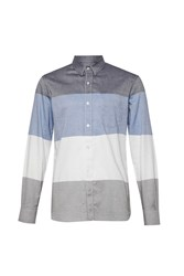French Connection Men's Girodat Stripe Slim Fit Long Sleeve Shirt Blue