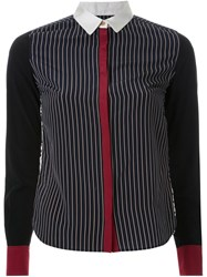 Guild Prime Pinstriped Multipattern Contrast Cuff Button Down Shirt Black