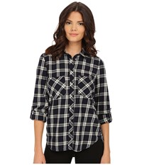 Blank Nyc Plaid Shirt Navy Blue Beige Women's Clothing