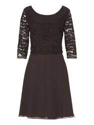 Vera Mont Lace Layered Dress Brown