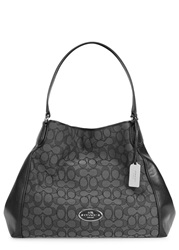 Coach Edie Monogrammed Canvas And Leather Tote Black And Grey