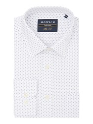 Howick Men's Tailored Slater Classic Collar Shirt With Circle And Dot White
