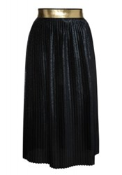 Markus Lupfer Navy Glitter Pleated Brana Skirt