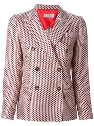 Alberto Biani Printed Double Breasted Blazer Pink And Purple