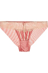 Elle Macpherson Tea Garden Lace Trimmed Satin And Stretch Mesh Briefs
