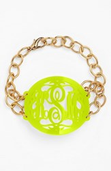 Women's Moon And Lola 'Annabel' Large Oval Personalized Monogram Bracelet Lime Gold Nordstrom Exclusive