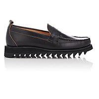 Barneys New York Men's Moc Toe Loafers Black Blue Black Blue