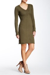 Max Studio V Neck Stitched Sweater Dress Green