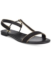 Styleandco. Style Co. Kristee T Strap Flat Sandals Only At Macy's Women's Shoes Black