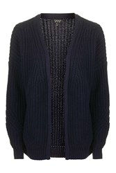 Topshop Fisherman Rib Cardigan Navy Blue