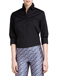 Carolina Herrera Three Quarter Sleeve Classic Shirt Black 2