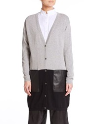 Lafayette 148 New York Colorblock Boyfriend Cardigan Grey Black