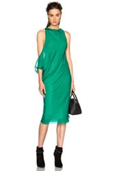 Ann Demeulemeester Chiffon Tunic Dress In Green