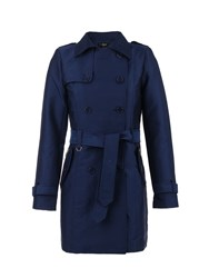 Morgan Zip Detail Cotton Trench Coat Navy
