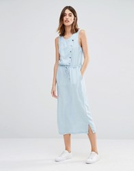 Warehouse Chombray Asymmetric Waisted Dress Blue