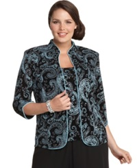 Alex Evenings Plus Size Three Quarter Sleeve Metallic Paisley Jacket And Shell Black Blue