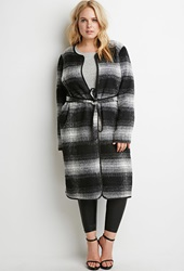 Forever 21 Belted Plaid Coat Black White
