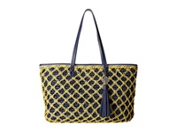 Rafe New York Sam Straw Tote Navy Yellow Tote Handbags