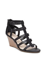 Jessica Simpson Shalon Leather Wedge Sandals Black