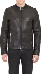 Lot 78 Collarless Leather Jacket Black