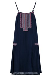 S.Oliver Denim Summer Dress Night Blue Embroidery Dark Blue